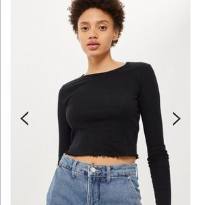 Topshop Black Lettuce Top